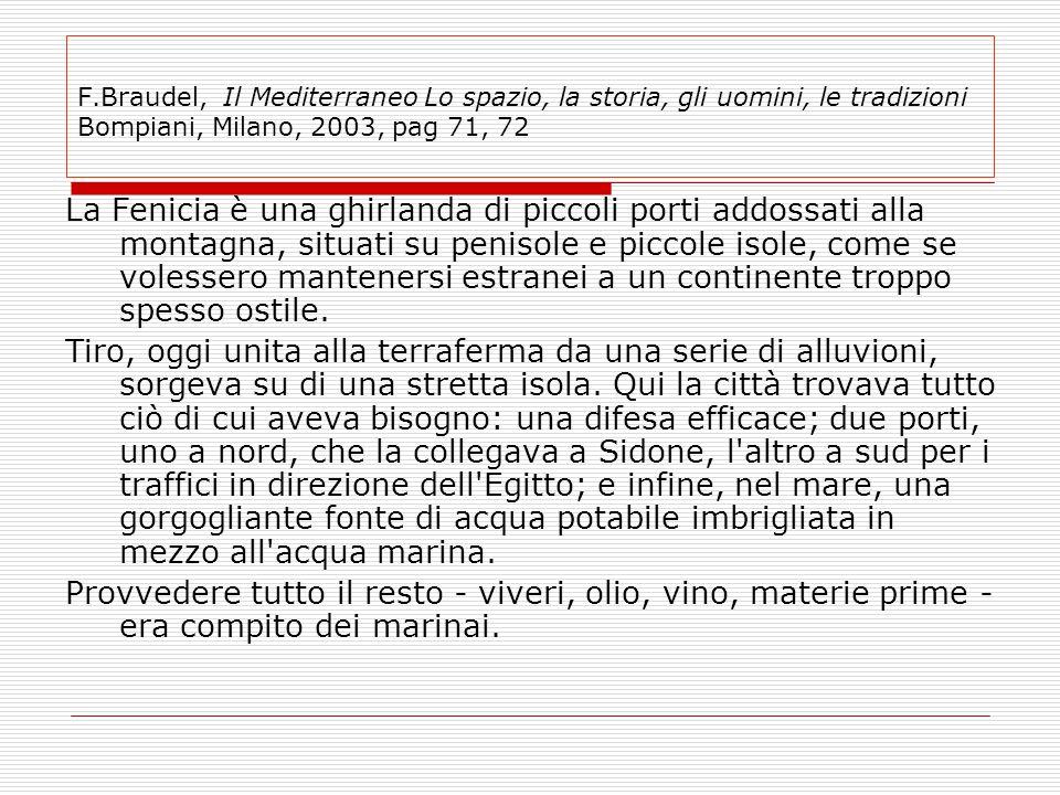 F.Braudel, Il Mediterraneo Lo spazio, la storia, gli uomini, le tradizioni Bompiani, Milano, 2003, pag 71, 72 La Fenicia è una ghirlanda di piccoli po