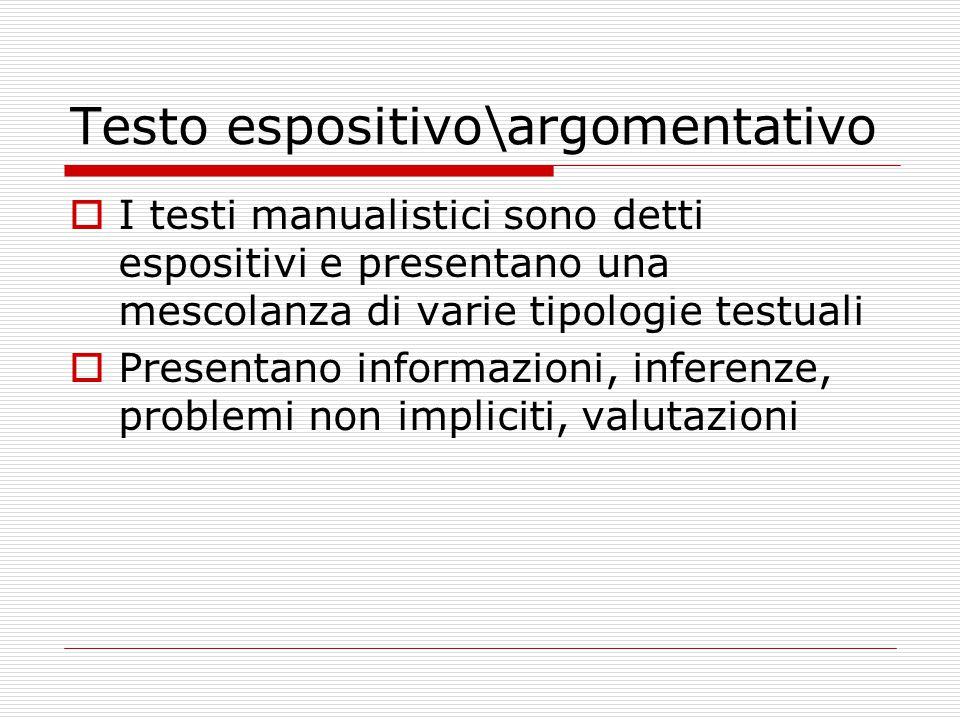 Testo espositivo\argomentativo  I testi manualistici sono detti espositivi e presentano una mescolanza di varie tipologie testuali  Presentano informazioni, inferenze, problemi non impliciti, valutazioni