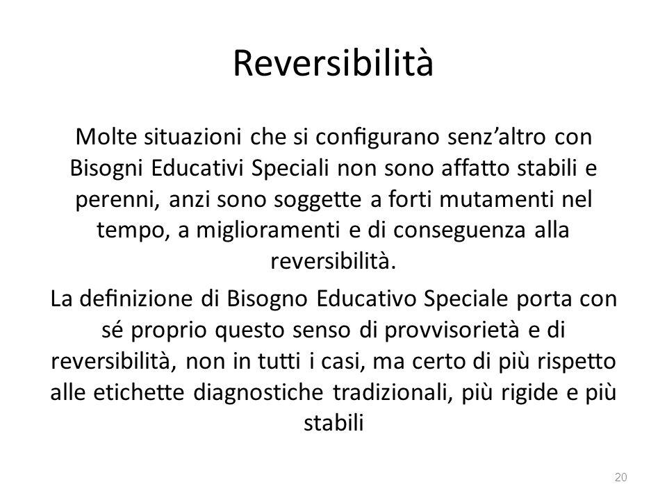 Reversibilità Molte situazioni che si configurano senz'altro con Bisogni Educativi Speciali non sono affatto stabili e perenni, anzi sono soggette a forti mutamenti nel tempo, a miglioramenti e di conseguenza alla reversibilità.