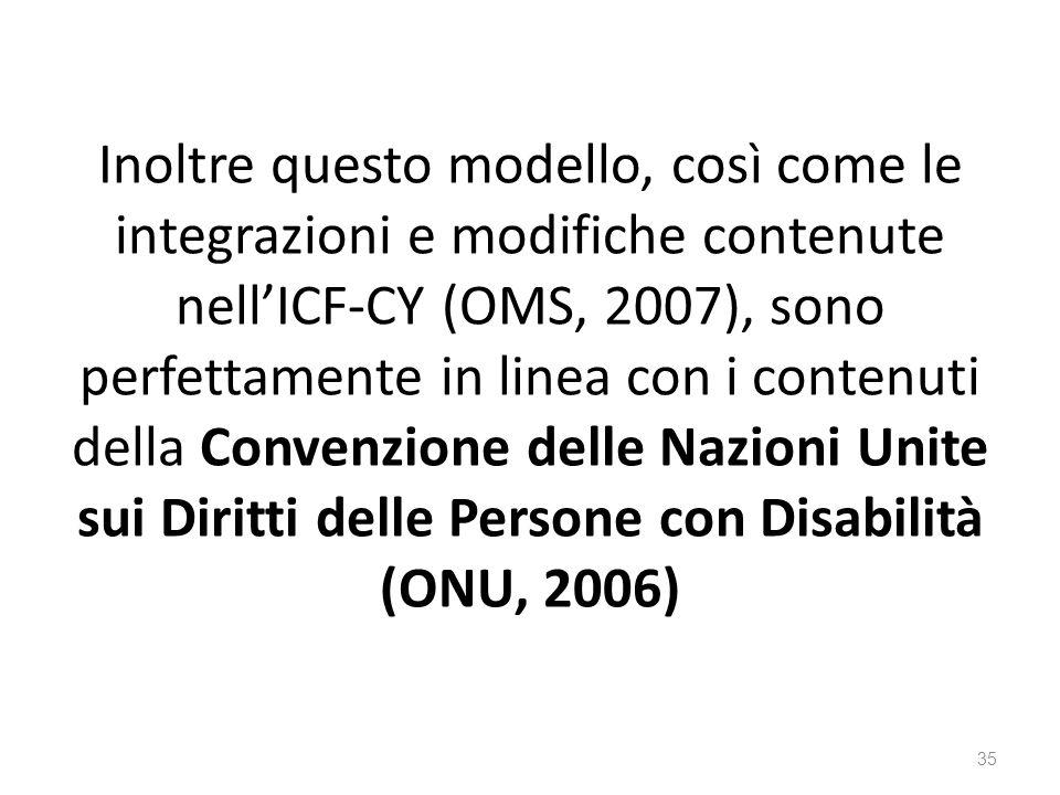 Inoltre questo modello, così come le integrazioni e modifiche contenute nell'ICF-CY (OMS, 2007), sono perfettamente in linea con i contenuti della Convenzione delle Nazioni Unite sui Diritti delle Persone con Disabilità (ONU, 2006) 35