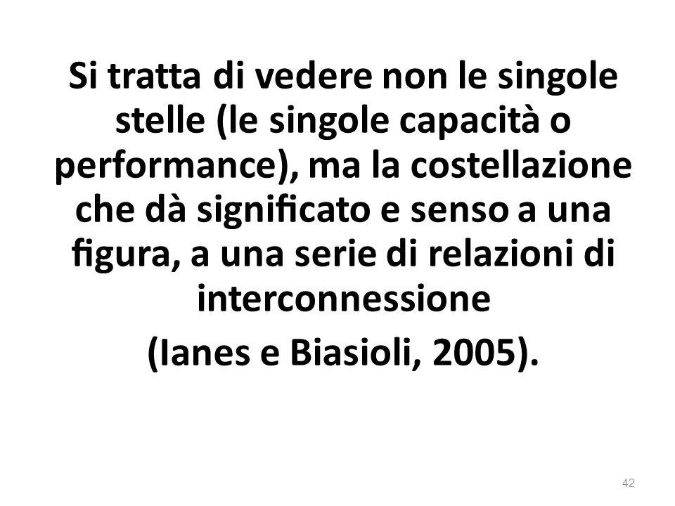 Si tratta di vedere non le singole stelle (le singole capacità o performance), ma la costellazione che dà significato e senso a una figura, a una serie di relazioni di interconnessione (Ianes e Biasioli, 2005).