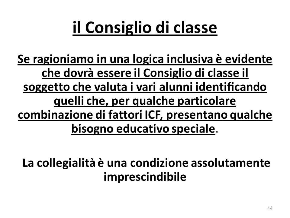 il Consiglio di classe Se ragioniamo in una logica inclusiva è evidente che dovrà essere il Consiglio di classe il soggetto che valuta i vari alunni identificando quelli che, per qualche particolare combinazione di fattori ICF, presentano qualche bisogno educativo speciale.