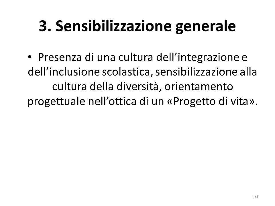 3. Sensibilizzazione generale Presenza di una cultura dell'integrazione e dell'inclusione scolastica, sensibilizzazione alla cultura della diversità,