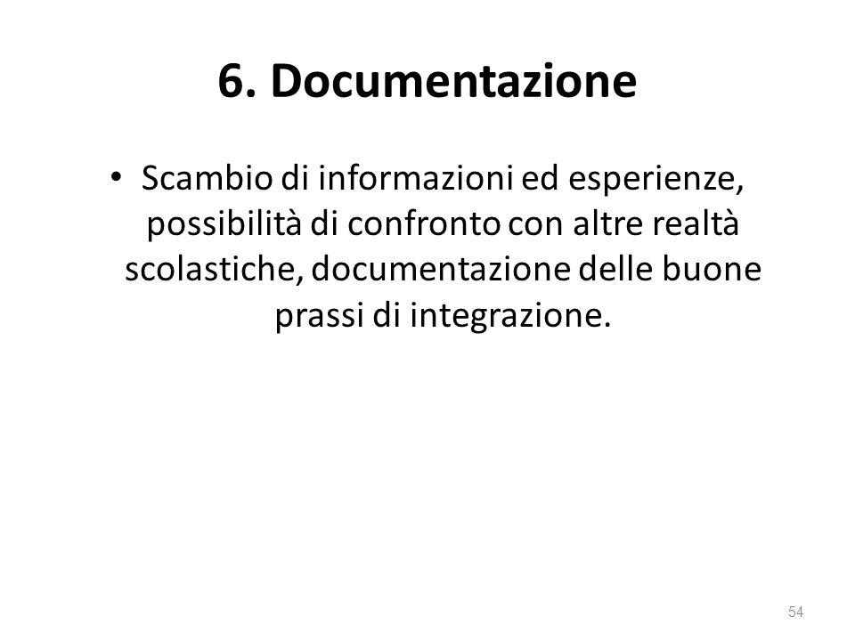 6. Documentazione Scambio di informazioni ed esperienze, possibilità di confronto con altre realtà scolastiche, documentazione delle buone prassi di i