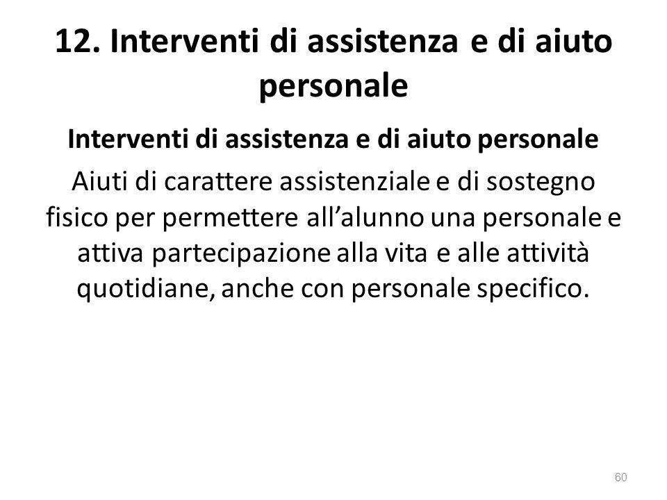 12. Interventi di assistenza e di aiuto personale Interventi di assistenza e di aiuto personale Aiuti di carattere assistenziale e di sostegno fisico