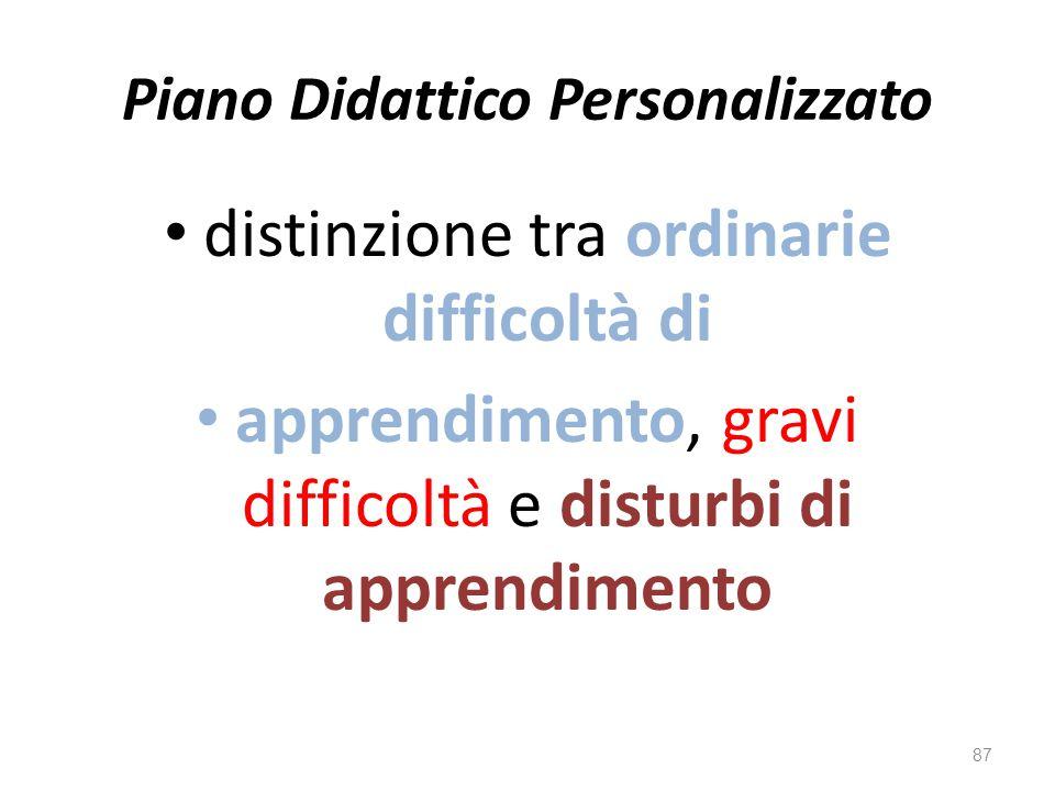 Piano Didattico Personalizzato distinzione tra ordinarie difficoltà di apprendimento, gravi difficoltà e disturbi di apprendimento 87