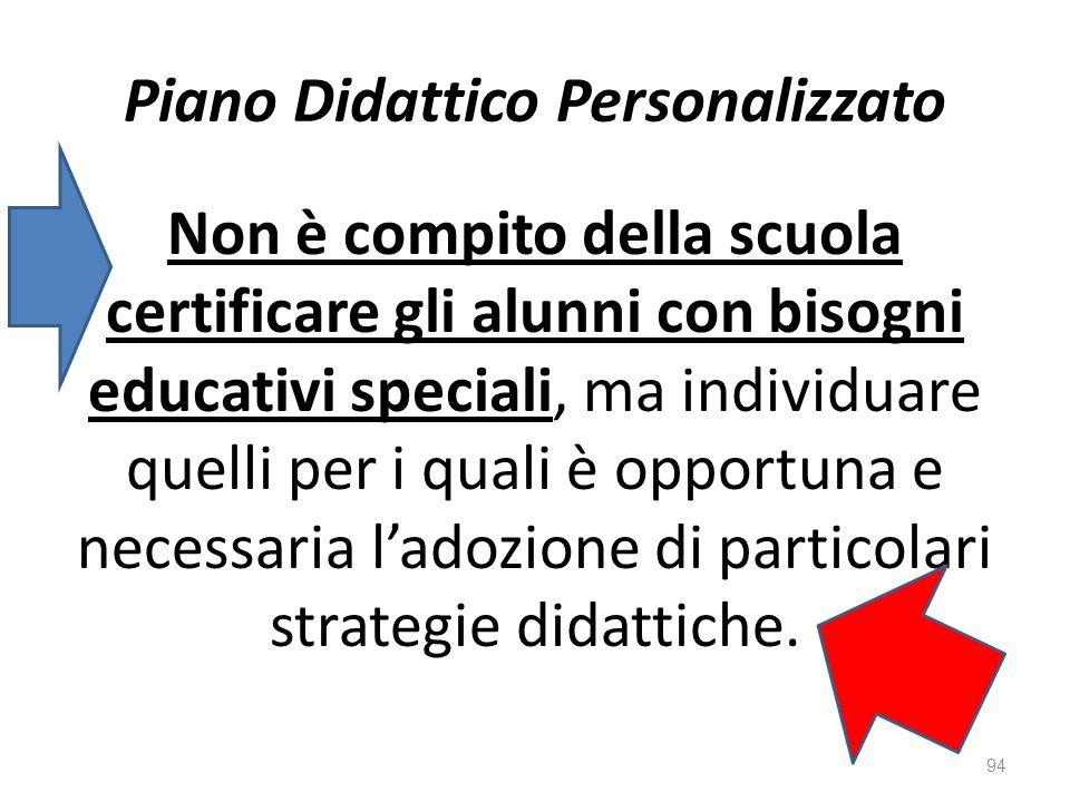 Piano Didattico Personalizzato Non è compito della scuola certificare gli alunni con bisogni educativi speciali, ma individuare quelli per i quali è opportuna e necessaria l'adozione di particolari strategie didattiche.