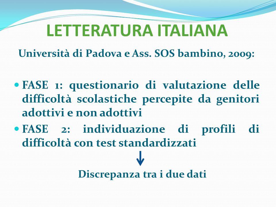 LETTERATURA ITALIANA Università di Padova e Ass. SOS bambino, 2009: FASE 1: questionario di valutazione delle difficoltà scolastiche percepite da geni