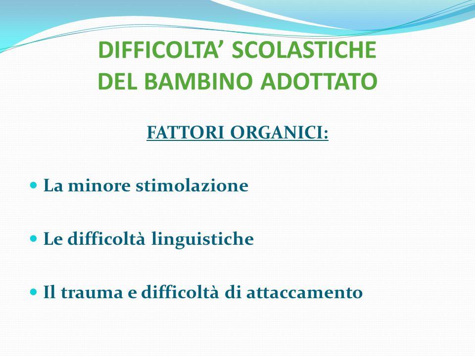 DIFFICOLTA' SCOLASTICHE DEL BAMBINO ADOTTATO FATTORI ORGANICI: La minore stimolazione Le difficoltà linguistiche Il trauma e difficoltà di attaccament