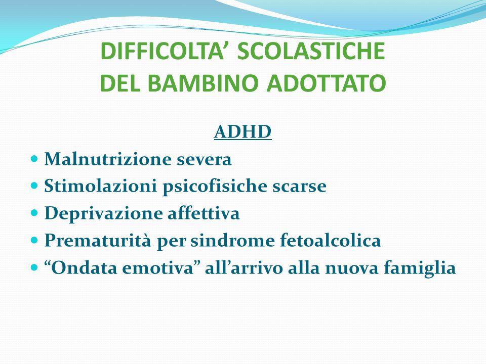 DIFFICOLTA' SCOLASTICHE DEL BAMBINO ADOTTATO ADHD Malnutrizione severa Stimolazioni psicofisiche scarse Deprivazione affettiva Prematurità per sindrom