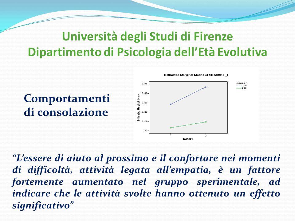 """Università degli Studi di Firenze Dipartimento di Psicologia dell'Età Evolutiva """"L'essere di aiuto al prossimo e il confortare nei momenti di difficol"""