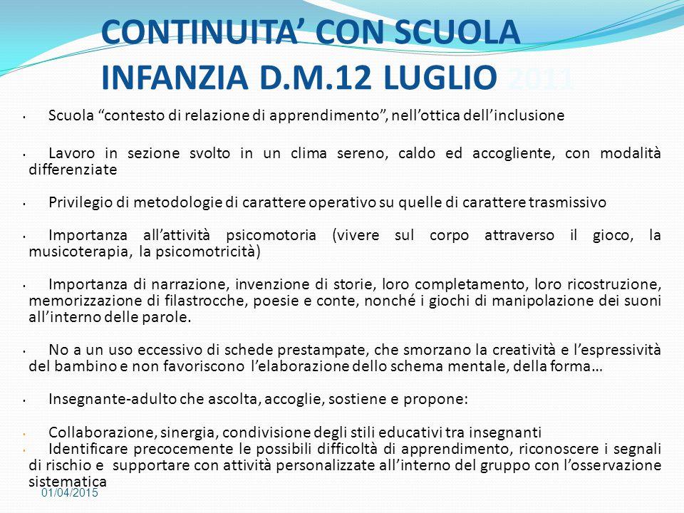 """CONTINUITA' CON SCUOLA INFANZIA D.M.12 LUGLIO 2011 01/04/2015 Scuola """"contesto di relazione di apprendimento"""", nell'ottica dell'inclusione Lavoro in s"""