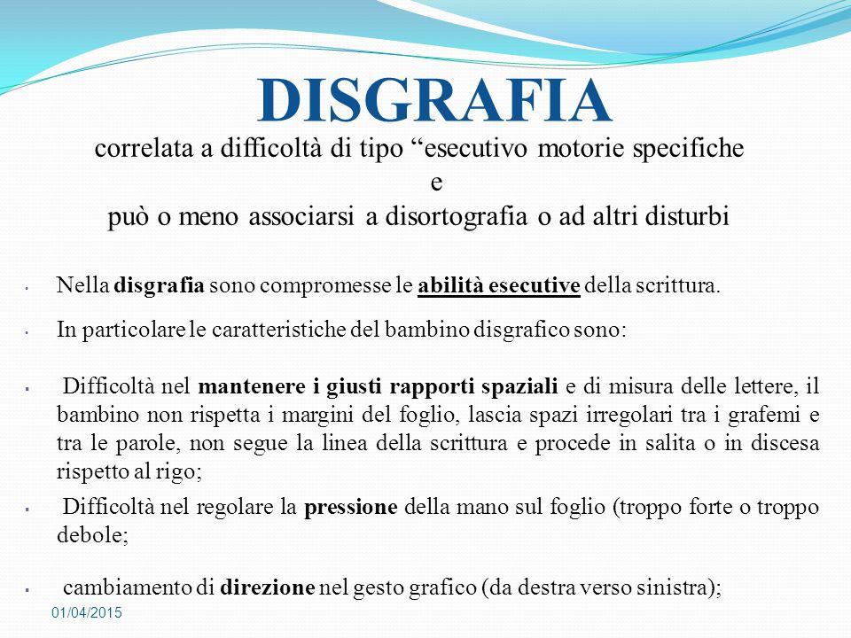 """DISGRAFIA 01/04/2015 correlata a difficoltà di tipo """"esecutivo motorie specifiche e può o meno associarsi a disortografia o ad altri disturbi Nella di"""