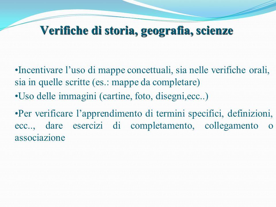 Verifiche di storia, geografia, scienze Uso delle immagini (cartine, foto, disegni,ecc..) Incentivare l'uso di mappe concettuali, sia nelle verifiche