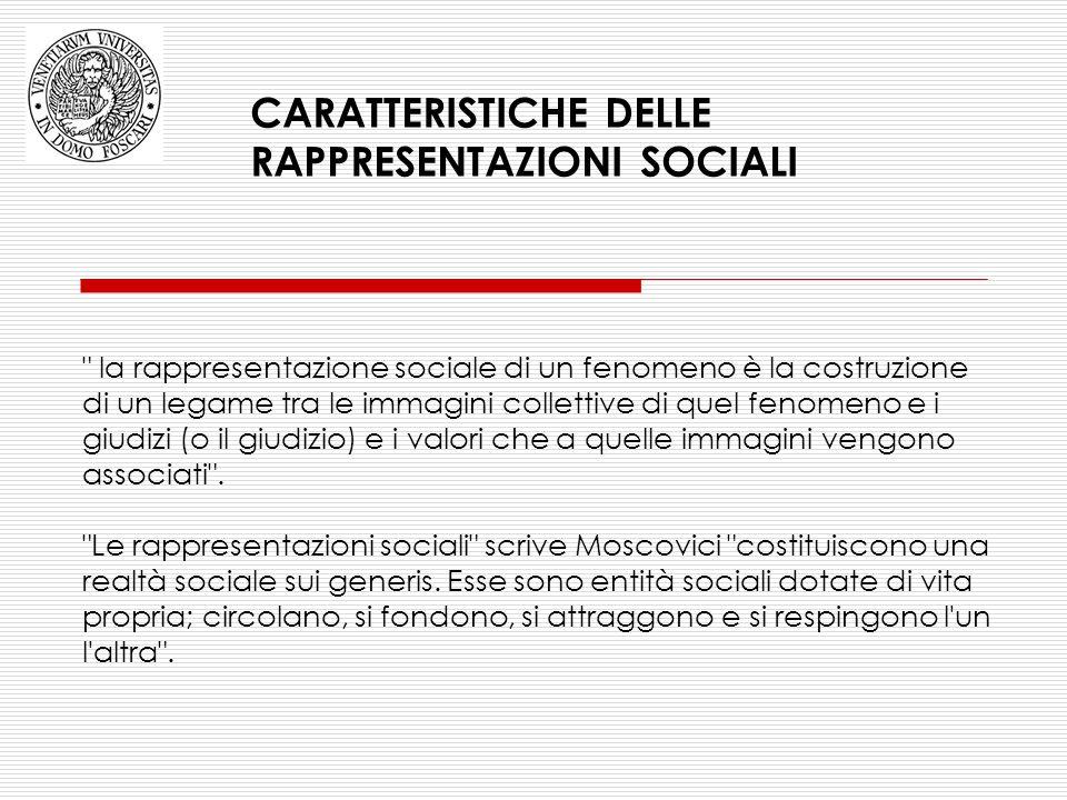 CARATTERISTICHE DELLE RAPPRESENTAZIONI SOCIALI