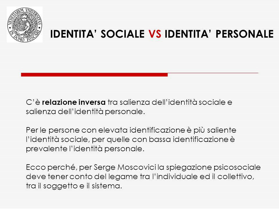 C'è relazione inversa tra salienza dell'identità sociale e salienza dell'identità personale. Per le persone con elevata identificazione è più saliente