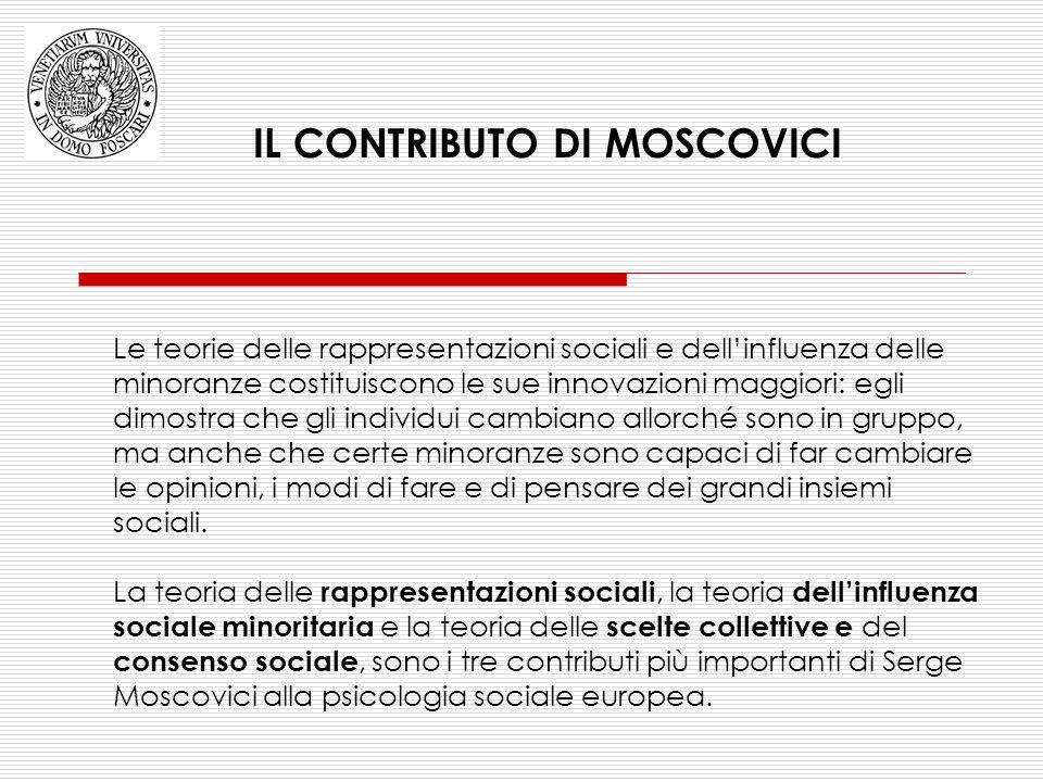 Le teorie delle rappresentazioni sociali e dell'influenza delle minoranze costituiscono le sue innovazioni maggiori: egli dimostra che gli individui c