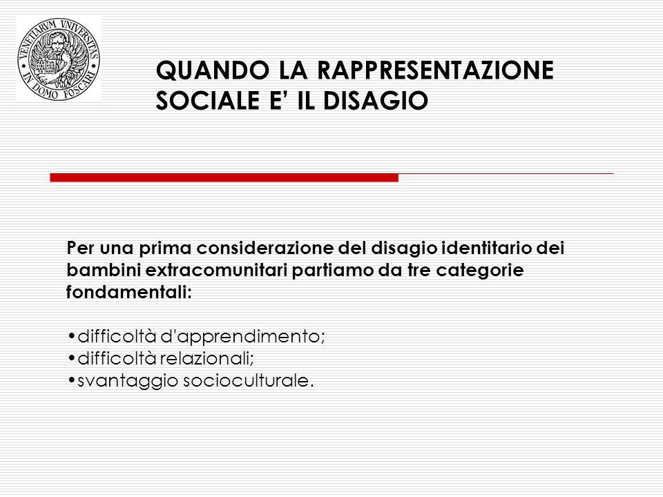 QUANDO LA RAPPRESENTAZIONE SOCIALE E' IL DISAGIO Per una prima considerazione del disagio identitario dei bambini extracomunitari partiamo da tre cate
