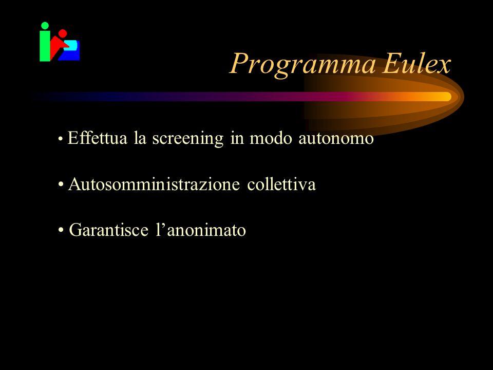 Programma Eulex Effettua la screening in modo autonomo Autosomministrazione collettiva Garantisce l'anonimato