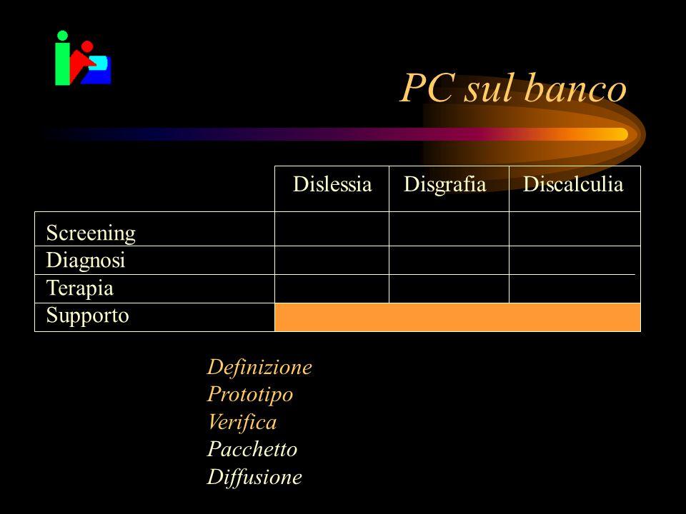 PC sul banco Dislessia Disgrafia Discalculia Screening Diagnosi Terapia Supporto Definizione Prototipo Verifica Pacchetto Diffusione