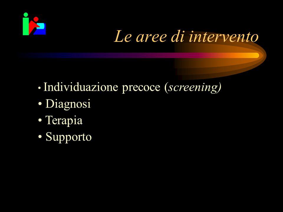 Le aree di intervento Individuazione precoce (screening) Diagnosi Terapia Supporto