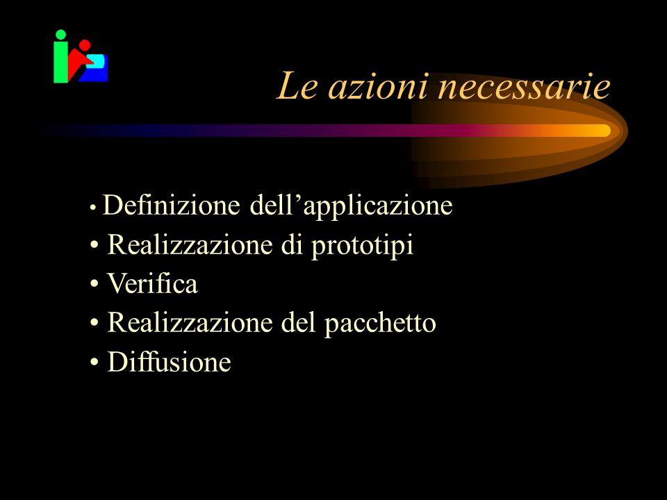 Le azioni necessarie Definizione dell'applicazione Realizzazione di prototipi Verifica Realizzazione del pacchetto Diffusione
