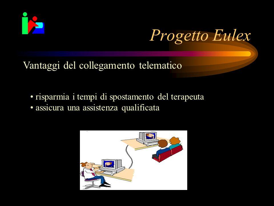 Progetto Eulex Vantaggi del collegamento telematico risparmia i tempi di spostamento del terapeuta assicura una assistenza qualificata