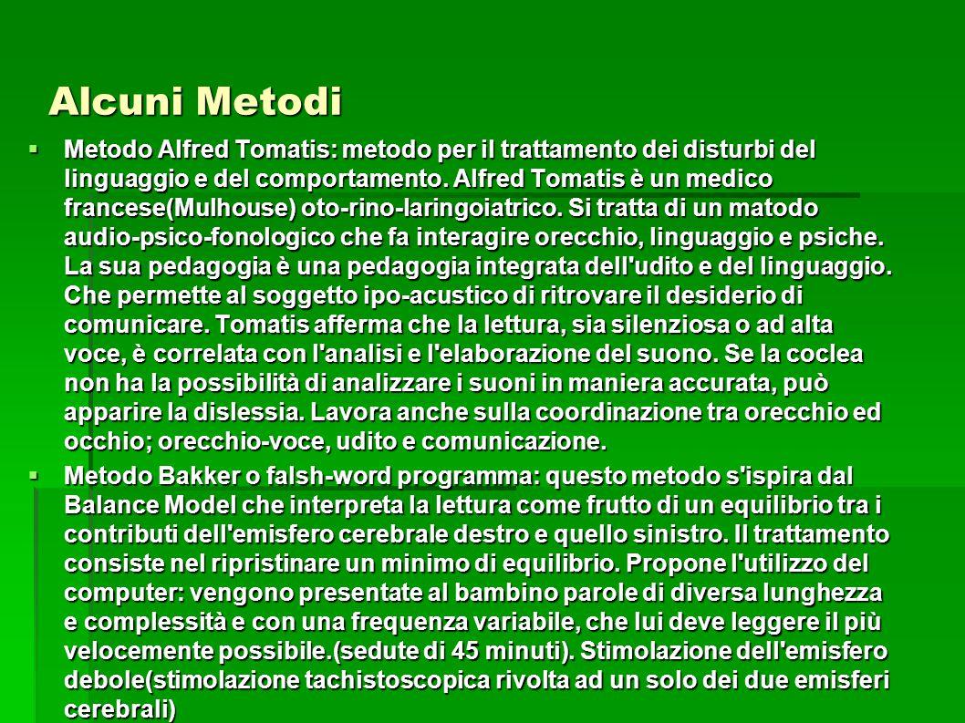 Alcuni Metodi  Metodo Alfred Tomatis: metodo per il trattamento dei disturbi del linguaggio e del comportamento. Alfred Tomatis è un medico francese(
