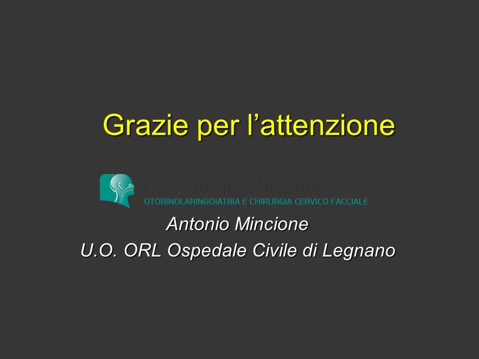 Grazie per l'attenzione Antonio Mincione U.O. ORL Ospedale Civile di Legnano
