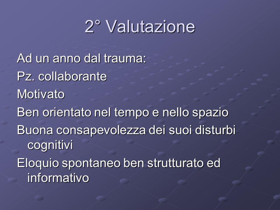 2° Valutazione Ad un anno dal trauma: Pz. collaborante Motivato Ben orientato nel tempo e nello spazio Buona consapevolezza dei suoi disturbi cognitiv