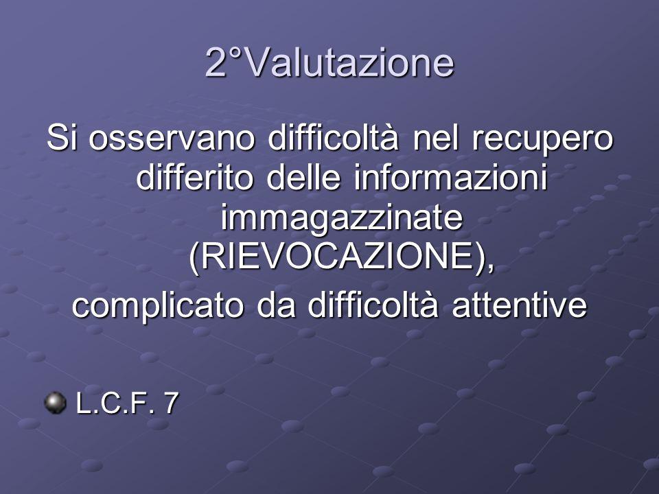 2°Valutazione Si osservano difficoltà nel recupero differito delle informazioni immagazzinate (RIEVOCAZIONE), complicato da difficoltà attentive L.C.F