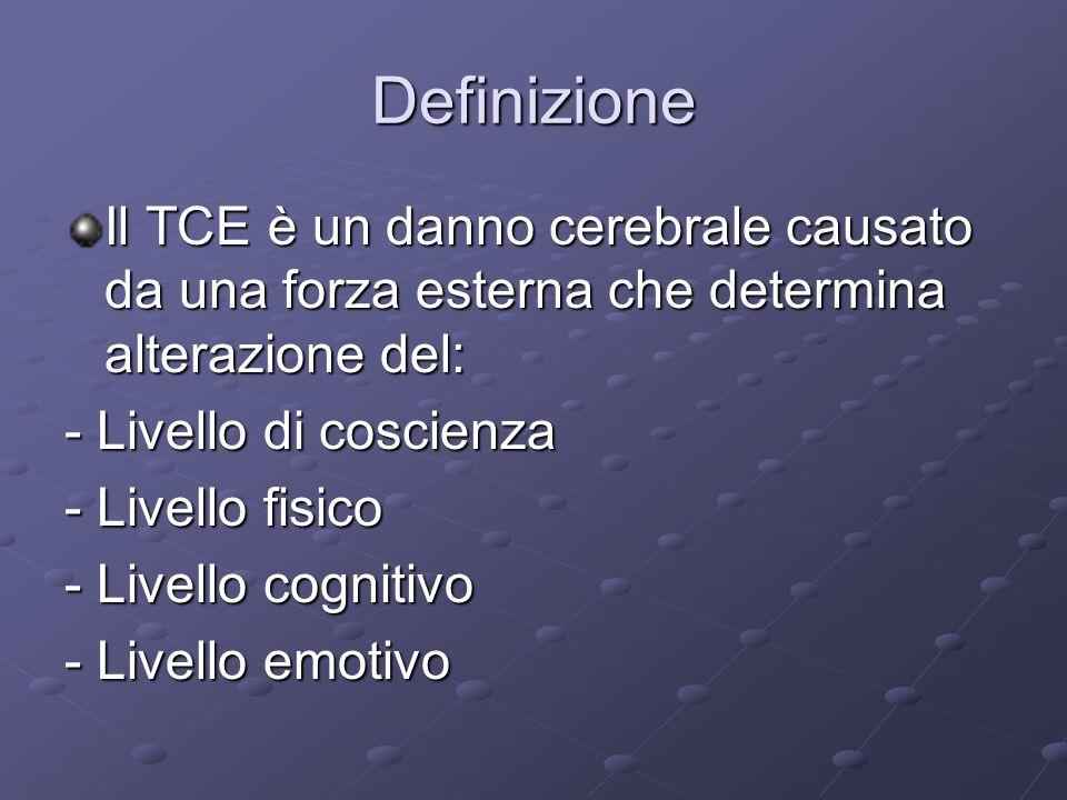 Definizione Il TCE è un danno cerebrale causato da una forza esterna che determina alterazione del: - Livello di coscienza - Livello fisico - Livello