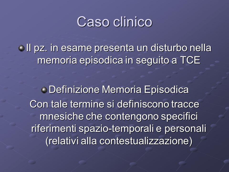 Caso clinico Il pz. in esame presenta un disturbo nella memoria episodica in seguito a TCE Definizione Memoria Episodica Con tale termine si definisco
