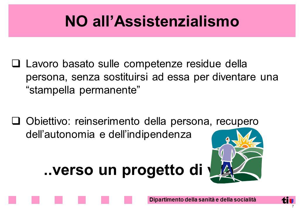Dipartimento della sanità e della socialità 7 NO all'Assistenzialismo  Lavoro basato sulle competenze residue della persona, senza sostituirsi ad ess