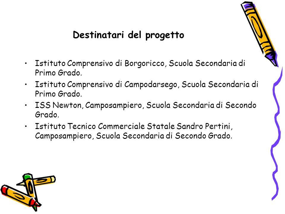 Destinatari del progetto Istituto Comprensivo di Borgoricco, Scuola Secondaria di Primo Grado.