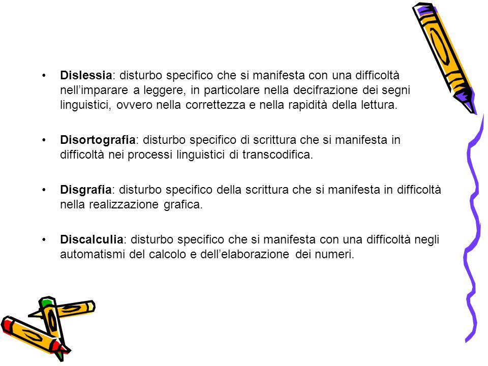 Dislessia: disturbo specifico che si manifesta con una difficoltà nell'imparare a leggere, in particolare nella decifrazione dei segni linguistici, ovvero nella correttezza e nella rapidità della lettura.