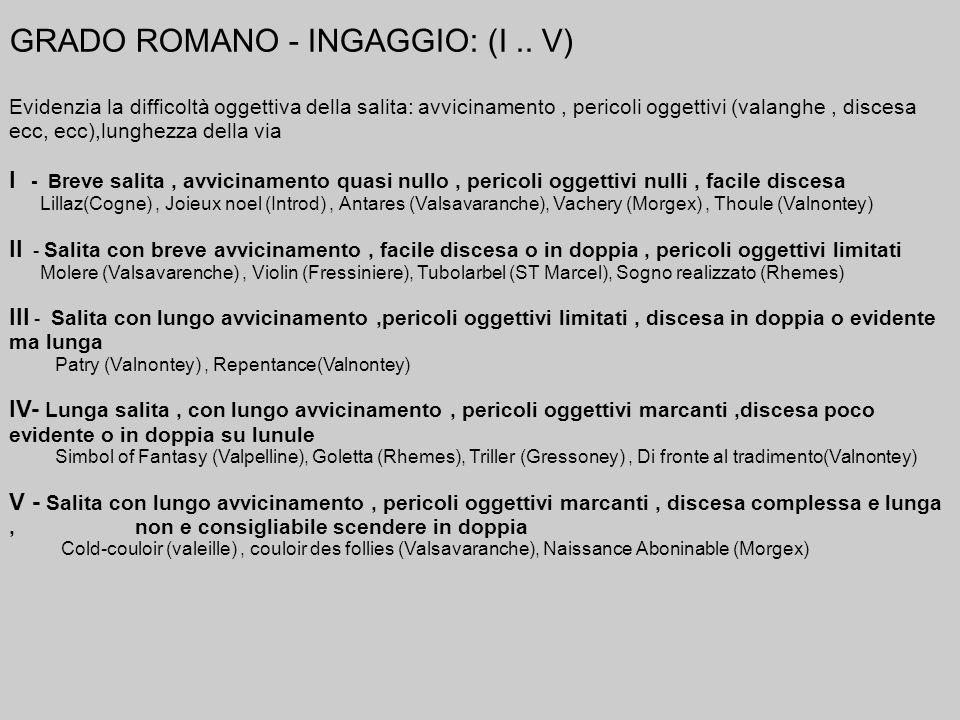 GRADO ROMANO - INGAGGIO: (I.. V) Evidenzia la difficoltà oggettiva della salita: avvicinamento, pericoli oggettivi (valanghe, discesa ecc, ecc),lunghe