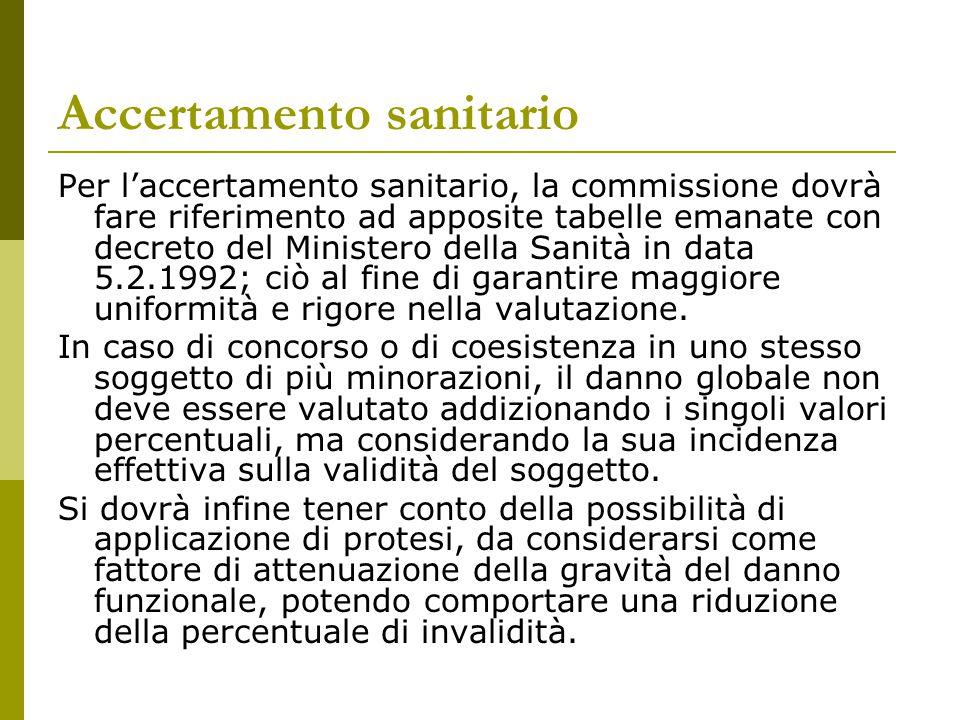 Accertamento sanitario Per l'accertamento sanitario, la commissione dovrà fare riferimento ad apposite tabelle emanate con decreto del Ministero della