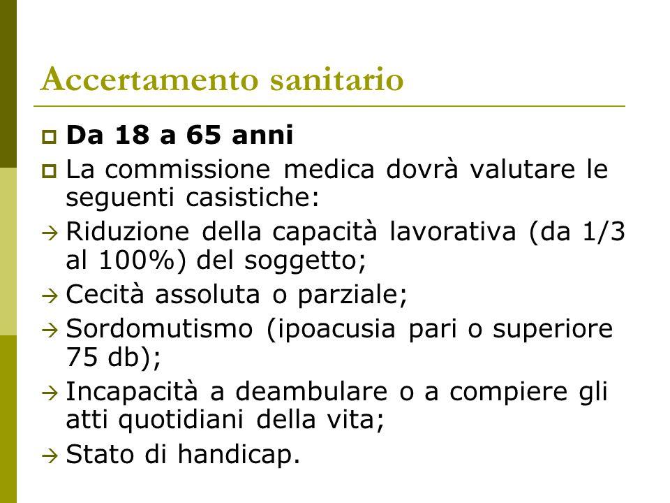 Accertamento sanitario  Da 18 a 65 anni  La commissione medica dovrà valutare le seguenti casistiche:  Riduzione della capacità lavorativa (da 1/3
