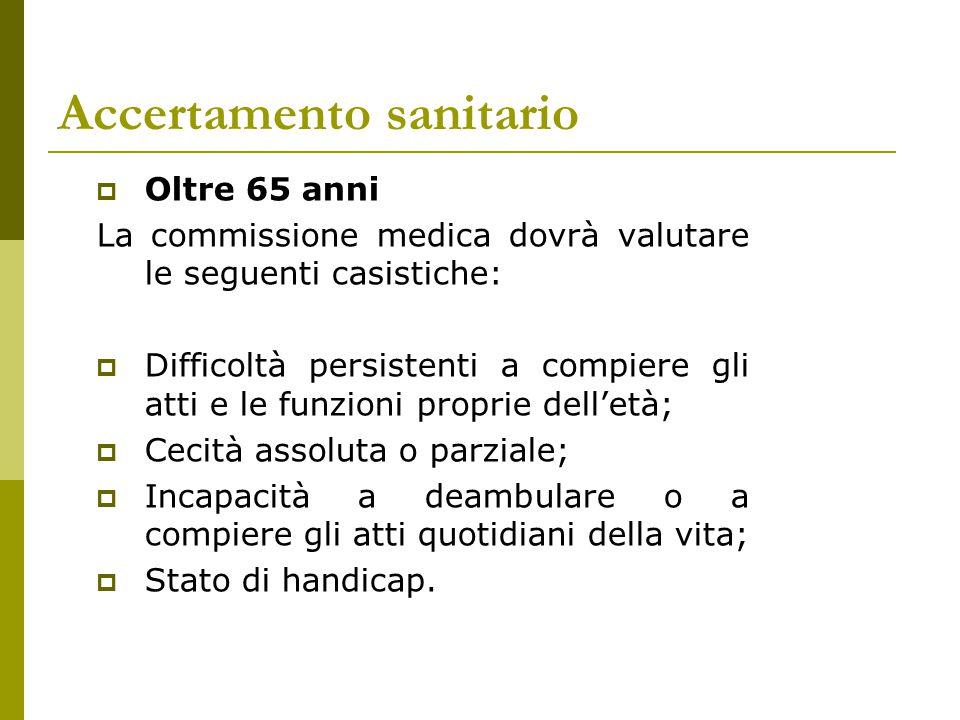 Accertamento sanitario  Oltre 65 anni La commissione medica dovrà valutare le seguenti casistiche:  Difficoltà persistenti a compiere gli atti e le