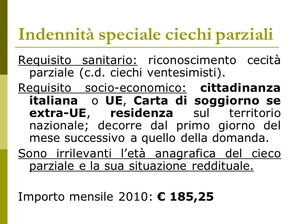 Indennità speciale ciechi parziali Requisito sanitario: riconoscimento cecità parziale (c.d. ciechi ventesimisti). Requisito socio-economico: cittadin