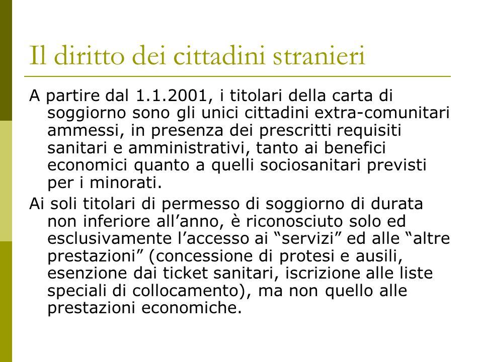 Il diritto dei cittadini stranieri A partire dal 1.1.2001, i titolari della carta di soggiorno sono gli unici cittadini extra-comunitari ammessi, in p