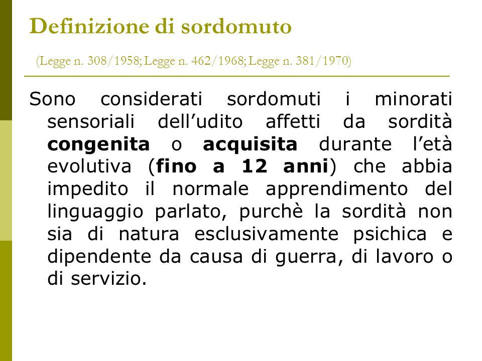 Definizione di sordomuto (Legge n. 308/1958; Legge n. 462/1968; Legge n. 381/1970) Sono considerati sordomuti i minorati sensoriali dell'udito affetti
