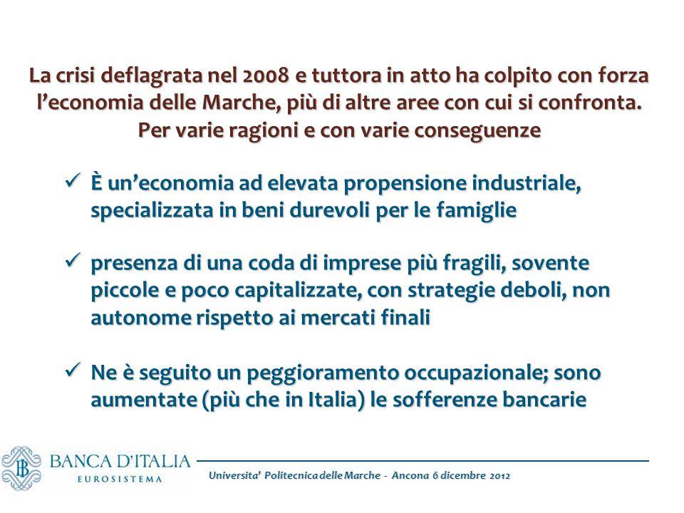Universita Politecnica delle Marche - Ancona 6 dicembre 2012 La crisi deflagrata nel 2008 e tuttora in atto ha colpito con forza l'economia delle Marche, più di altre aree con cui si confronta.