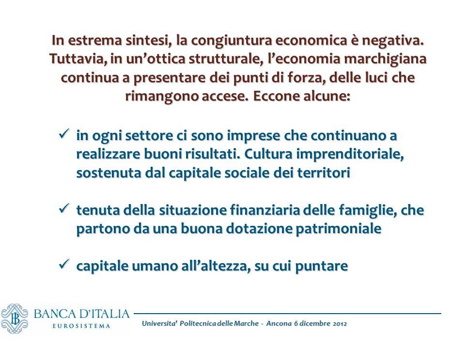 Universita Politecnica delle Marche - Ancona 6 dicembre 2012 In estrema sintesi, la congiuntura economica è negativa.