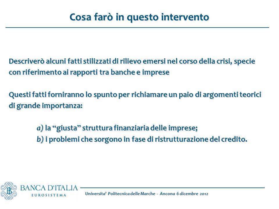 Universita' Politecnica delle Marche - Ancona 6 dicembre 2012 Descriverò alcuni fatti stilizzati di rilievo emersi nel corso della crisi, specie con r