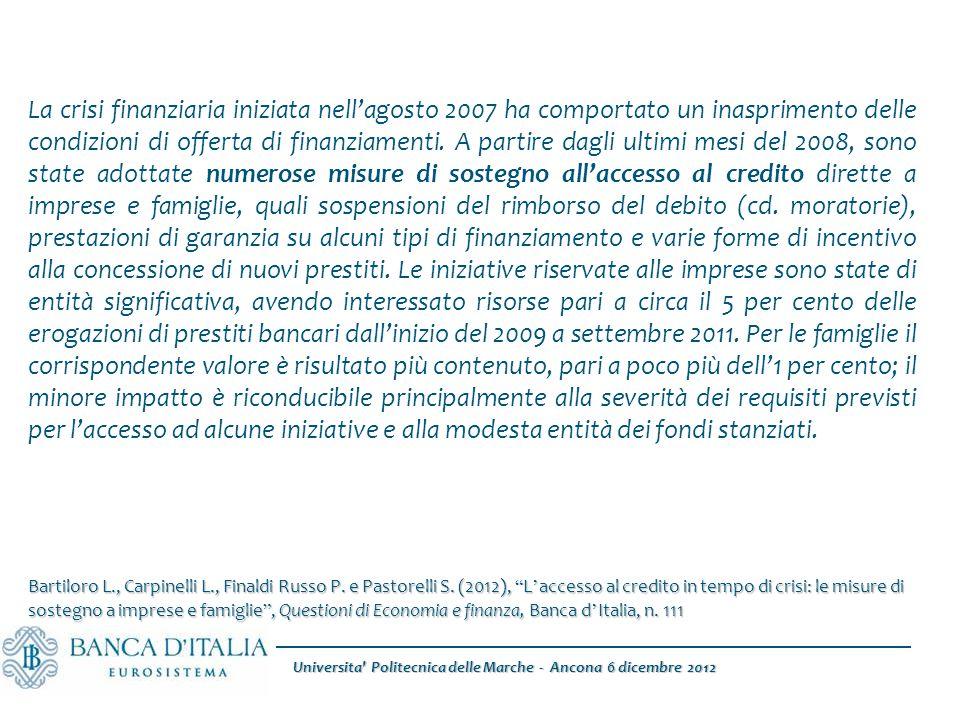 Universita Politecnica delle Marche - Ancona 6 dicembre 2012 La crisi finanziaria iniziata nell'agosto 2007 ha comportato un inasprimento delle condizioni di offerta di finanziamenti.