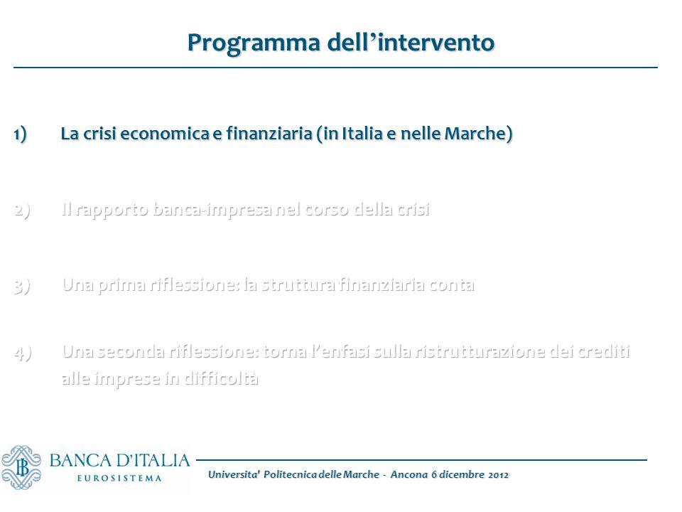 Universita Politecnica delle Marche - Ancona 6 dicembre 2012 1)La crisi economica e finanziaria (in Italia e nelle Marche) Programma dell ' intervento