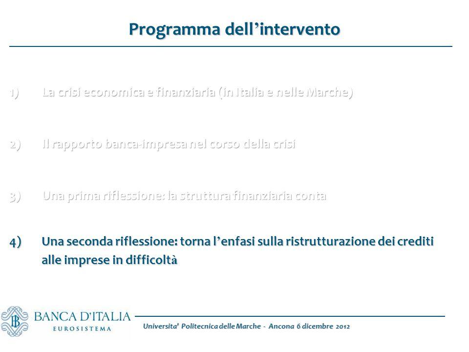 Programma dell ' intervento 4)Una seconda riflessione: torna l ' enfasi sulla ristrutturazione dei crediti alle imprese in difficolt à