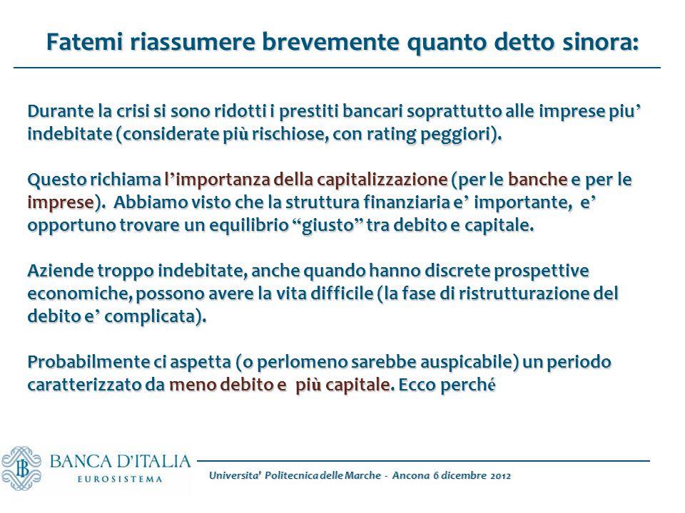 Universita Politecnica delle Marche - Ancona 6 dicembre 2012 Durante la crisi si sono ridotti i prestiti bancari soprattutto alle imprese piu ' indebitate (considerate pi ù rischiose, con rating peggiori).